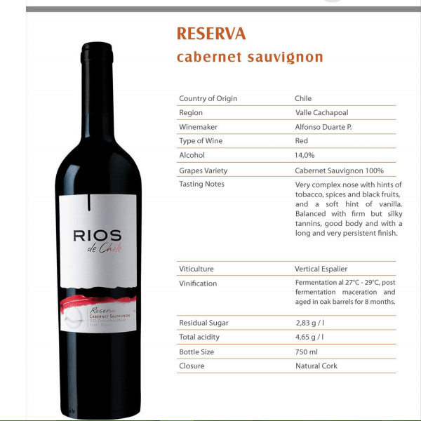 Rượu vang Rios Del Chile Reserva Cabernet Sauvignon